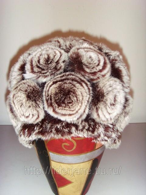 цветы для украшения меховых шапок.