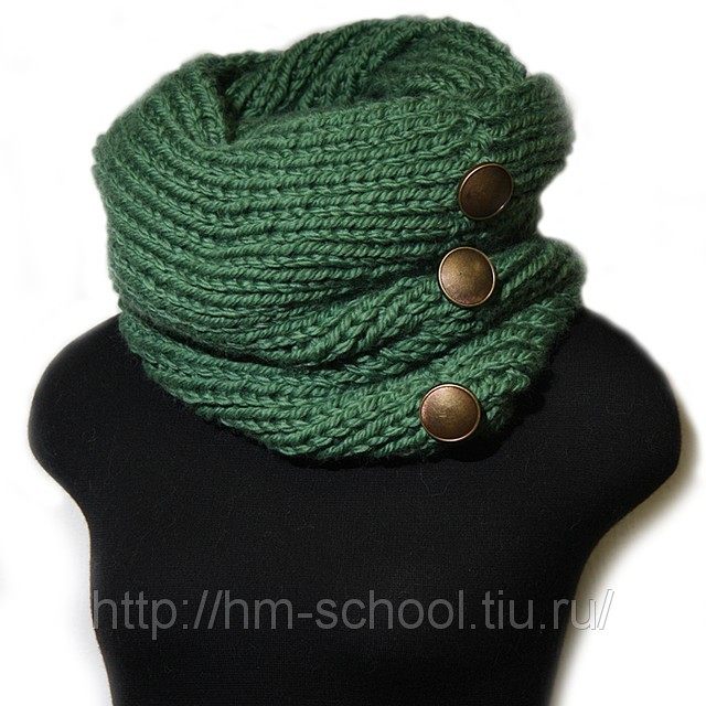 Вяжем спицами мужскую шапку и шарф из меланжевой пряжи, схема с.