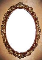 Зеркало настенное овальное 300 ювелирных камней — вставок. Размер 77х54 см. Дворцовый интерьер…, фото 1