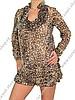 леопардовое шифоновое платье, шифоновое платье с рюшами, мини шифоновое...