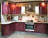 Кухня радиусная бизнес- класса фасады эмаль бордовые переливы.
